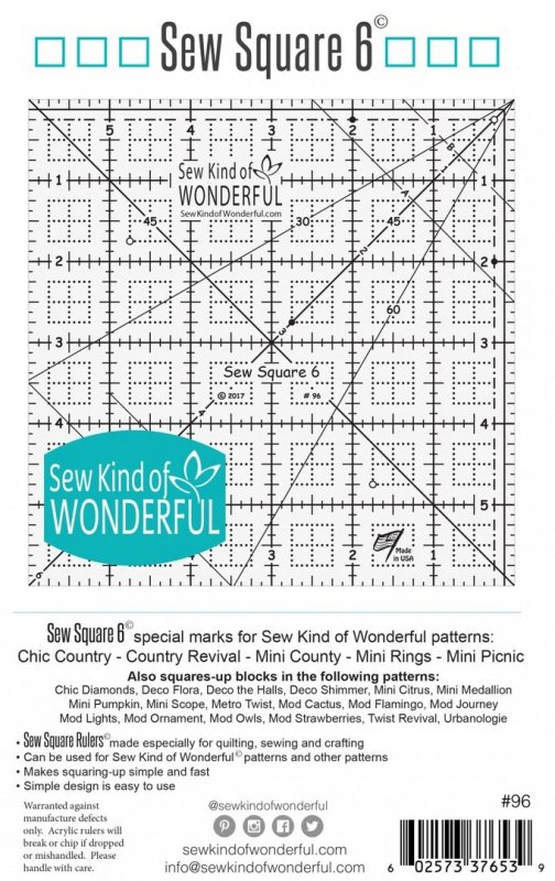 Sew Square 6 Ruler - Sew Kind of Wonderful